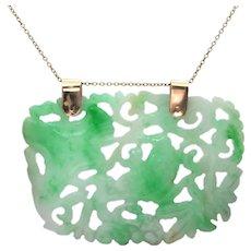 Vintage Hand-Carved Jade Pendant