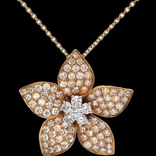 Vintage Diamond Plumeria Pendant