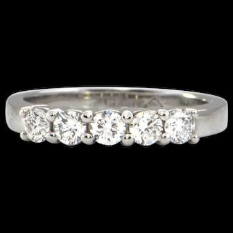 Vintage 0.50 ct Platinum 5 stone Diamond Ring