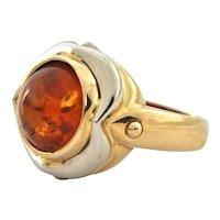Retro Amber 18k White & Yellow Gold Ring (C.1950)