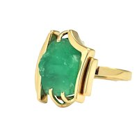 8.0 ct Rough Emerald Ring Circa 1970