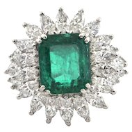 6.34 CT GIA Certified Colombian Emerald and Diamond Cocktail Ring C.1960 Italy