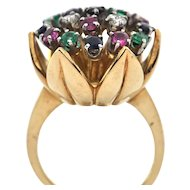Blooming Tulip Flower 18K Yellow Gold and Gem Ring Circa 1960