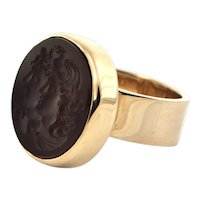 Carved Carnelian Intaglio Ring 14K Yellow Gold Circa 1950