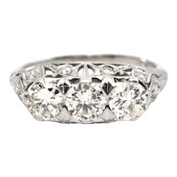 1.61 CT Late Edwardian Three Stone Diamond Ring c.1920