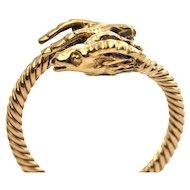 Vintage 18K Yellow Gold Rams Head Ring