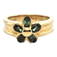 Vintage Green Tourmaline and 18K Yellow Gold Ring