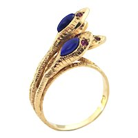 Vintage Lapis Lazuli and Ruby Four Snake Ring