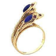 Vintage Lapis Lazuli and Ruby Four Snake Ring