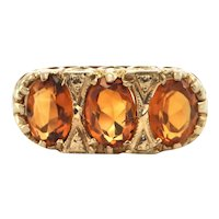 Vintage English c. 1934-35 Three stone Citrine Ring in 9K Yellow Gold