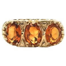 Vintage English c. 1934-35 Three stone Citrine Ring in 9K Yellow Gold