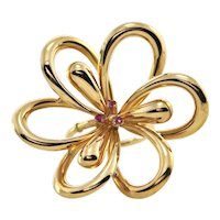 Vintage Large 18k Yellow Gold Flower and Ruby Ring