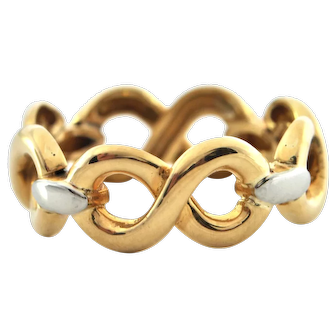 Vintage 18K Yellow and White Gold Figure 8 Ring Band