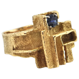 Vintage Geometric 18K Yellow Gold and 0.73CT Sapphire Ring