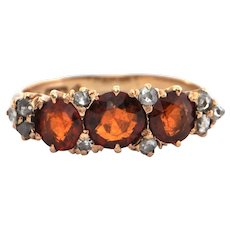 Vintage Three stone Hessonite Garnet & Diamond Ring in 14K Yellow Gold