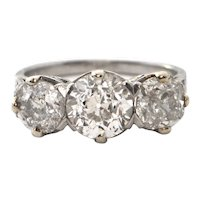 3.09 ct Old European cut three stone ring