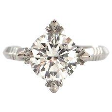 2.12CT Round Brilliant Diamond Ring Set in Platinum C.1940 - GIA Certified