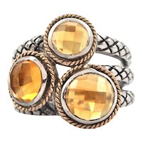 Sterling Silver and 18K Rose Gold Three Stone Citrine Ring