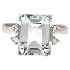 Vintage 5.23CT Aquamarine and 0.12CT Diamond 14K White Gold Ring