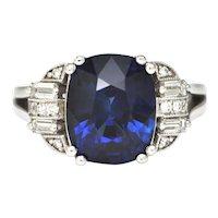 5.41CT Sri Lankan Royal Blue Sapphire and Diamond 18K White Gold Ring