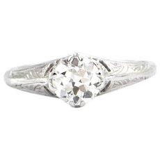 Edwardian 0.61CT Solitaire Diamond 18K White Gold Ring
