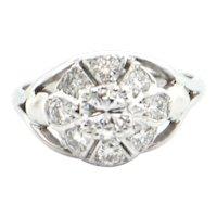0.84CT Diamond 14K White Gold Flower Ring