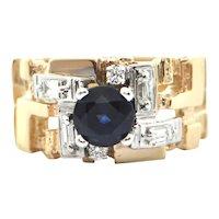 Birks 1.2CT Sapphire and Diamond 18K gold Ring C. 1960