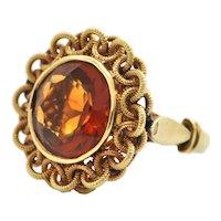 Mid-Century Madeira Citrine 18K Yellow Gold Ring