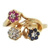 Vintage Retro Diamond, Sapphire and Ruby 14K Yellow Gold Rosette Ring