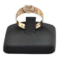 Antique English 9K Rose Gold Heart Ring C.1893