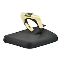 Vintage 18K Yellow Gold Peridot Bar Ring