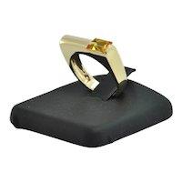 Vintage 18K Yellow Gold Citrine Bar Ring