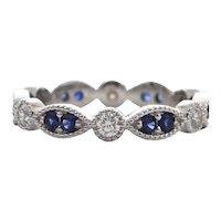 Contemporary Daisy Exclusive Sapphire & Diamond 18K White Gold Eternity Band