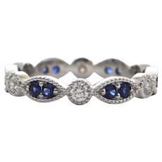 Contemporary Daisy Exclusive Sapphire & Diamond 18K White Gold Eternity Band