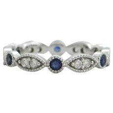 Contemporary Daisy Exclusive Diamond & Sapphire 18K White Gold Eternity Band