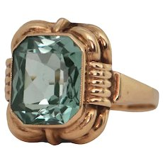 Vintage Scottish Synthetic Spinel Yellow Gold Ring