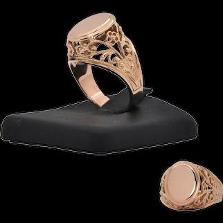 Retro Rose Gold Signet Ring (C.1950's)