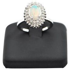 Opal and Diamond 18K White Gold Ring