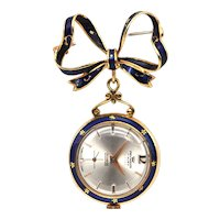 18K Yellow Gold and Enamel Pocket/Lapel Watch