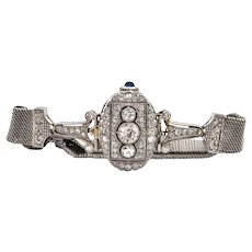 Art Deco Diamond Watch with Woven Mesh Bracelet (C.1920-1925)