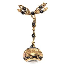 18K Gold & Enamel Ball Watch Brooch