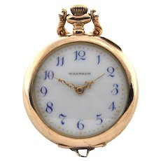 14K Yellow Open Faced Gold Waltham Pocket Watch C.1901