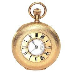 18K Yellow Gold Half Hunter Agassiz Pocket Watch C. 1890