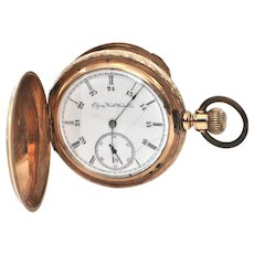 14K Yellow Gold Double Hunter Elgin Pocket Watch C. 1893
