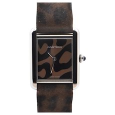 Limited Edition Stainless Steel Cartier Tank Solo in Leopard Print