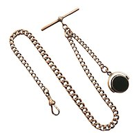 Antique English 9k Rose Gold Curb Link Pocket Watch Chain