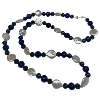 Cultured Coin Pearl, Jadeite and Lapis Lazuli Beaded Necklace with Sterling Silver Clasp