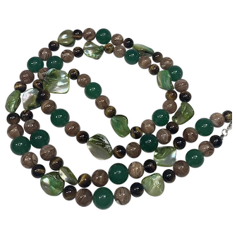 Green Mother of Pearl, Tigers Eye, Green Onyx and Jasper Beaded Necklace With Sterling Silver Clasp