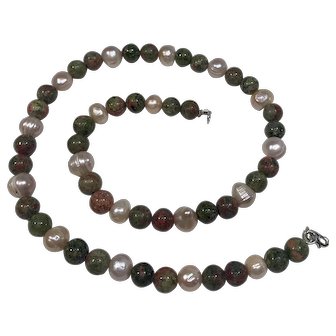 Pink Cultured Pearls and Ukinite Jasper Beads with a Sterling Silver Clasp
