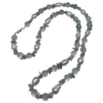 Green Fluorite, Cultured Potato Pearl and Amethyst Necklace